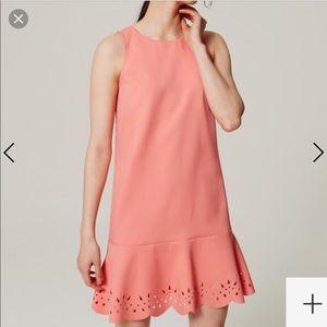 Loft cloral peach drop waist sleeveless dress